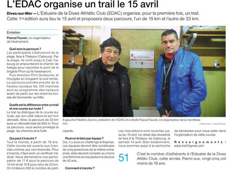 Ouest France: L'EDAC organise un trail le 15 avril