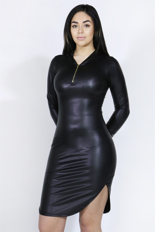 Black Leather Dress with Sleeves
