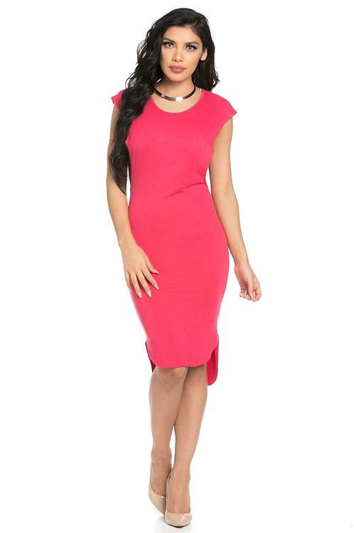 Coral HI-Low cut dress