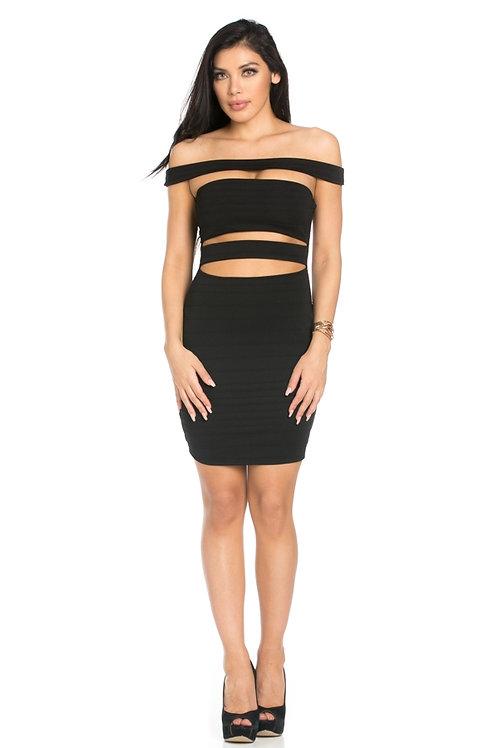Black stripe cut-out dress