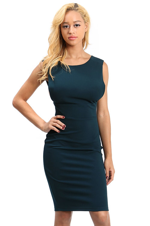 Hunter Green Sleeveless Bodycon Dress