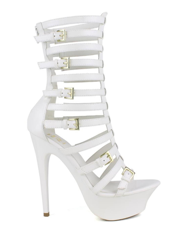 high heel platform back zipper midcalf buckle gladiators open toe sandals this product features 512 inch heels height112 inch platform3 inch shaft