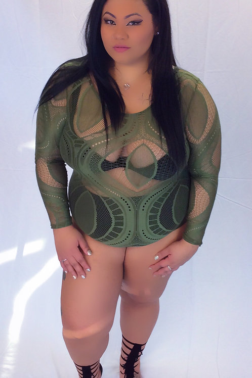 Olive Plus size Bodysuit