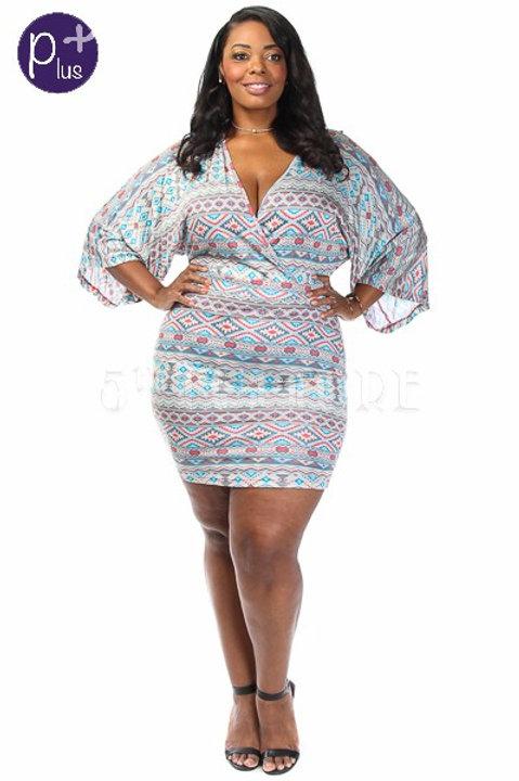 Aztec Print Plus Size Dress