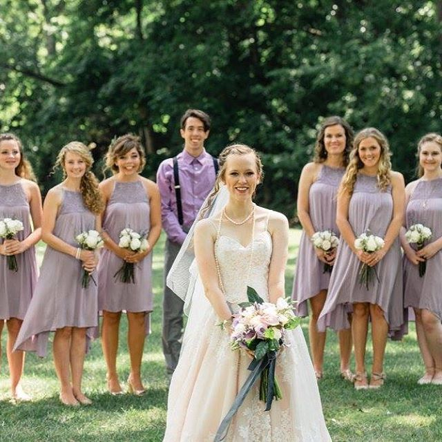 A beautiful summer #wedding with #lavender #roses and #bridesmaids dresses