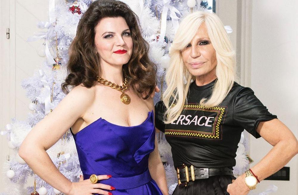 Sarah Baker with Donatella Versace
