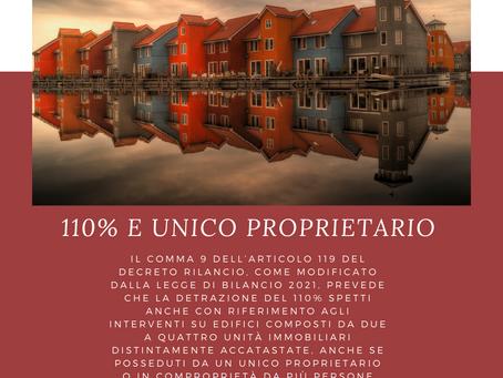 SUPERBONUS 110% E UNICO PROPRIETARIO