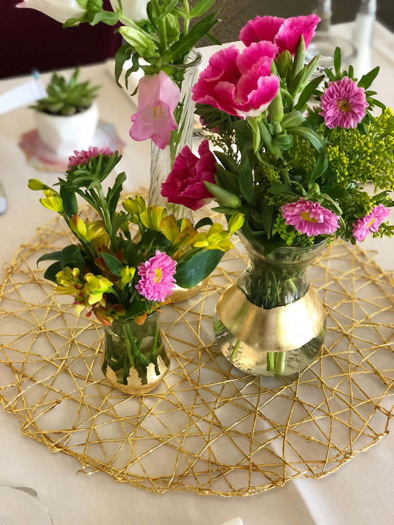 WILDFLOWERS IN GOLD LEAF VASES