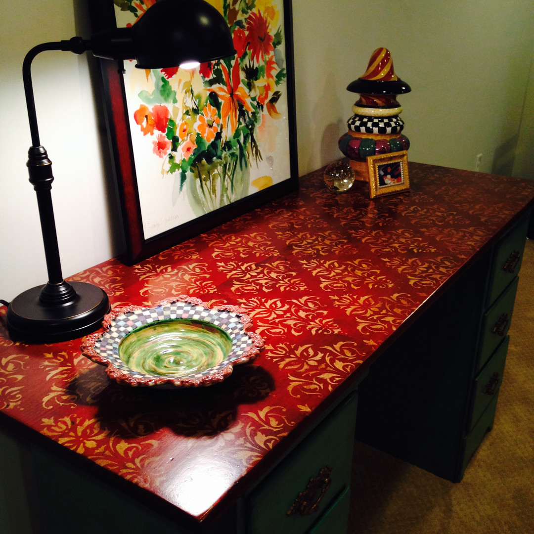 STENCILED & STAINED DESK