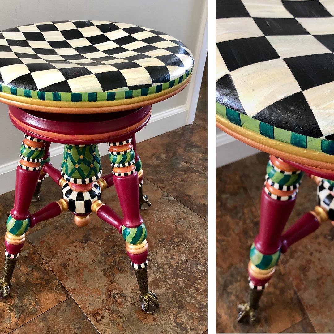 CHECKED PIANO STOOL