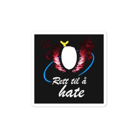 Rett til å hate klistremerke svart bakgrunn