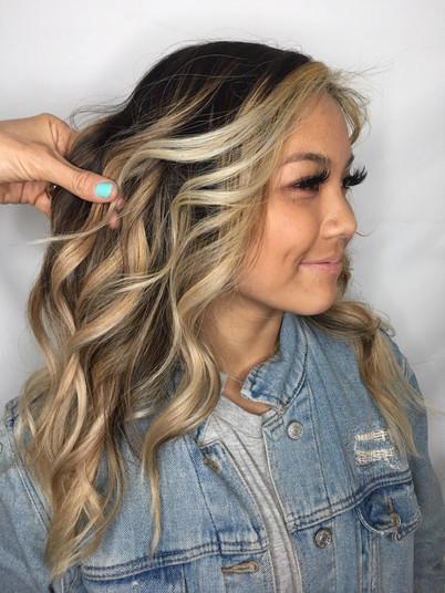 3/4 Foil of double process blonde, sandy toner, trim and curls $210