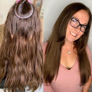 4 Rows Hand Tied extensions, full color & haircut to blend $650