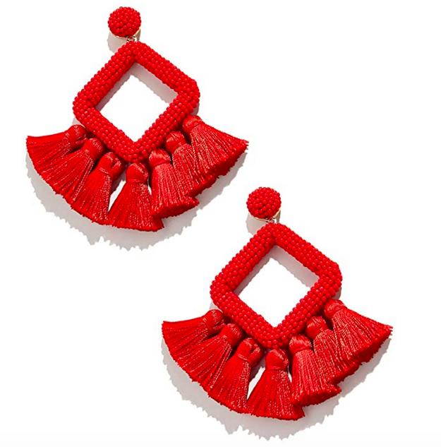 Red Beaded Tassel Earrings