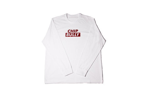 White Chip Bully Long Sleeve Tee With Red Logo