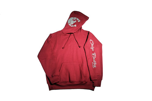 Burgundy Chip Bully Hoodie with Grey Logo