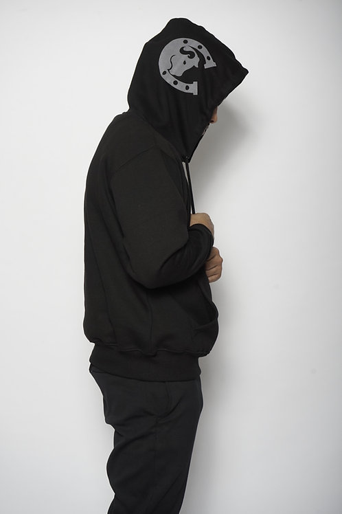 Chip Bully Hoodie Black Grey Logo