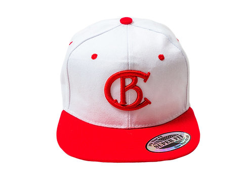 White & Red Chip Bully Hat with Red CB Logo