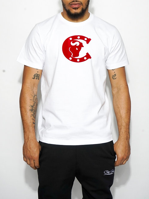 Chip Bully Tee White with Red Logo
