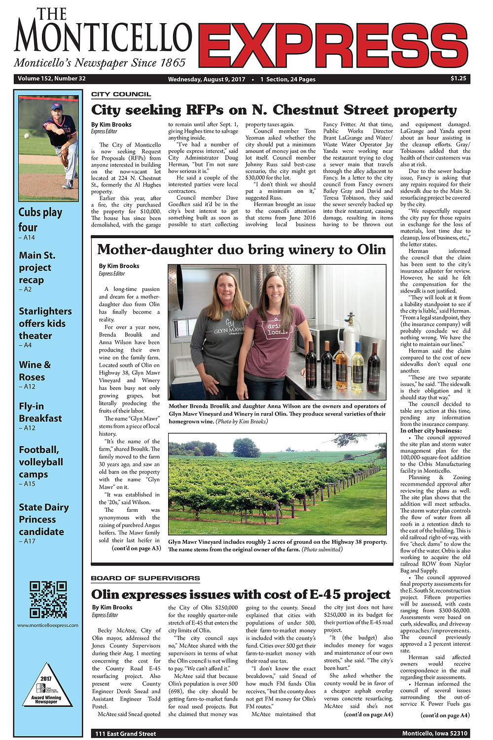 Monticello Express article page 1 jpg