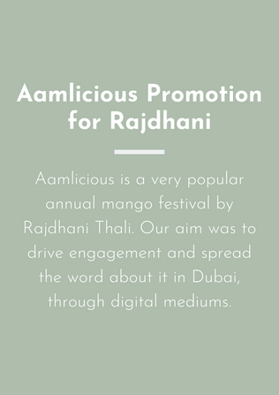 """Promoting """"Aamlicious"""" festival by Rajdhani"""