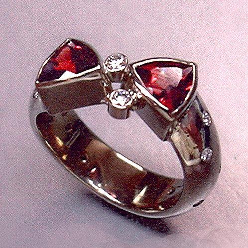Diamond and garnet engagement ring