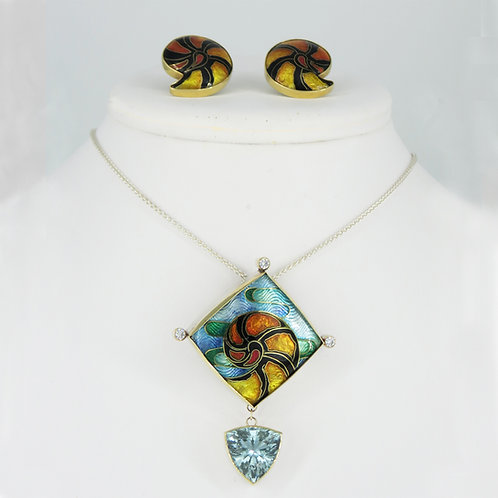 Andaman Sea Necklace and Earring ensemble
