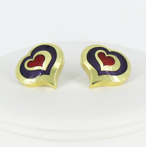 18k. gold Champleve' Enamel Heart Earrings