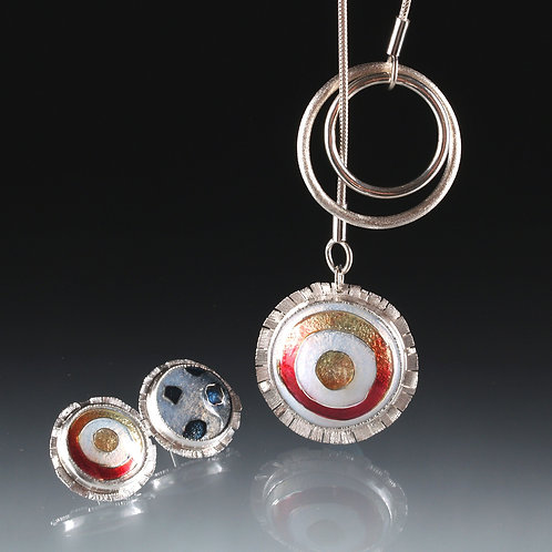 Cloisonne Sun and Moon lariet and earring set