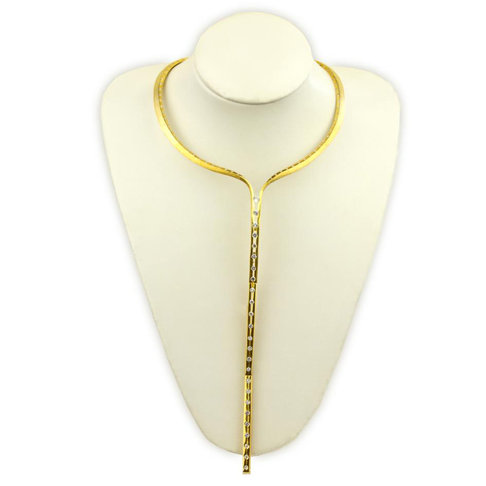 Articulating Gold Plated Necklace with diamonds