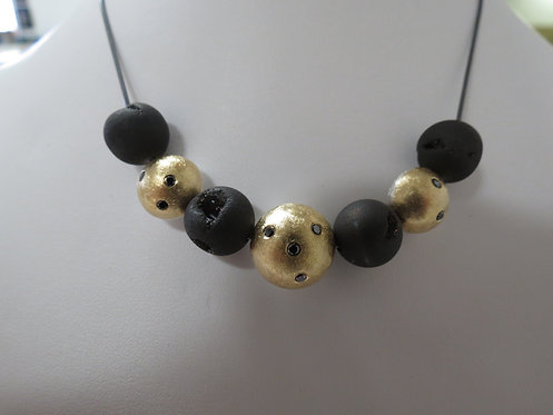 Reversible Gold and Silver Bead Necklace