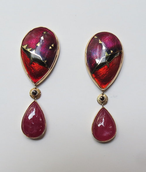 Cloisonné and Ruby with black diamond Earrings