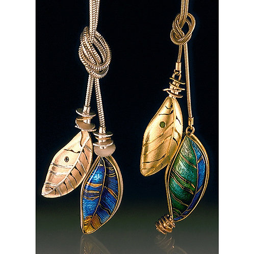 Gold and Silver Cloisonne Enamel Feather Lariates