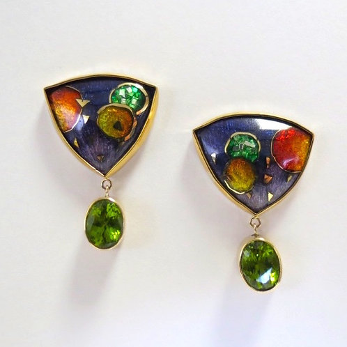 Cloisonné and Peridot Earrings