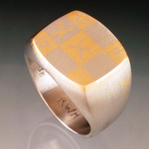 Tic Tac Toe Men's Inlaid Signet Ring