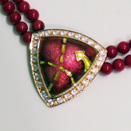 Cloisonne Enamel Necklace with beads