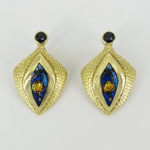 18k gold Champleve' Enamel Earrings