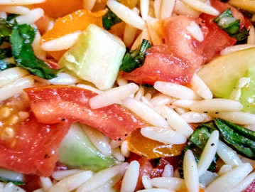 Tomato Cucumber Orzo Salad