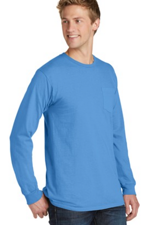 Port & Company® Pigment-Dyed Long Sleeve Pocket Tee
