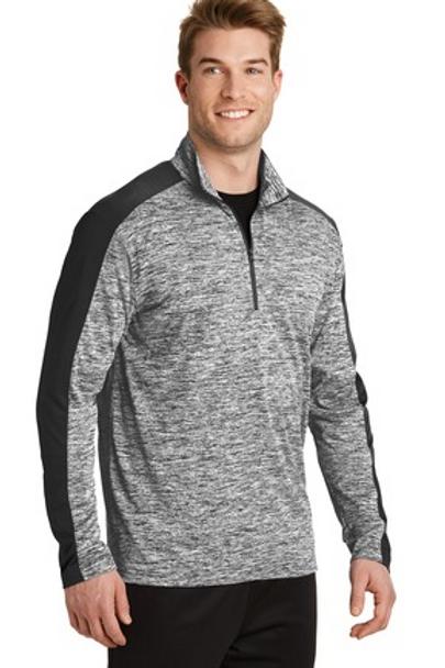 Sport-Tek® PosiCharge® Electric Heather Colorblock 1/4-Zip Pullover.