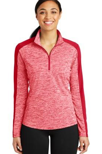 NEW Sport-Tek® Ladies PosiCharge® Electric Heather Colorblock 1/4-Zip Pullover.