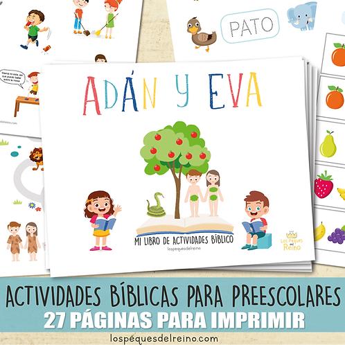 ADÁN Y EVA - Libro de actividades bíblicas para Preescolar