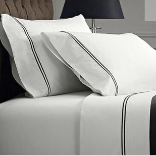 1000 thread count Egyptian cotton Queen sheet set -Navy on White  $159.95
