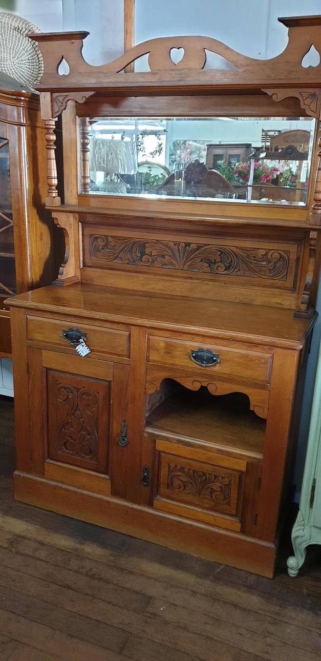 Antique Colonial Pine Mirror Back Dresse