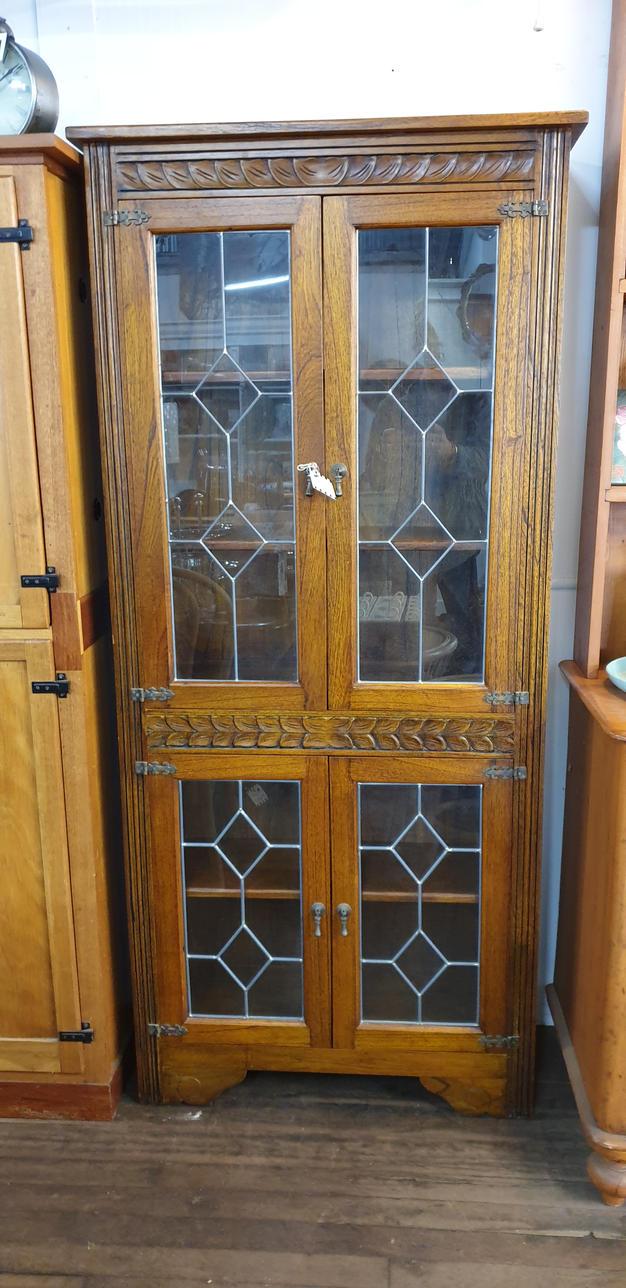 Oak & Leadlight Bookcase $1115