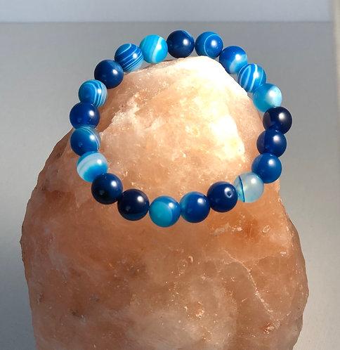 Blue Stripe Quartz Gemstone Bracelet