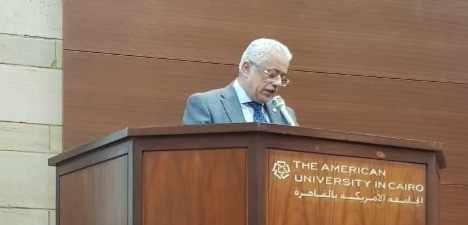 Minister of Education, H.E. Dr. Tarek Shakwy, giving a Keynote Speech in the Opening Ceremony of the Education Competition