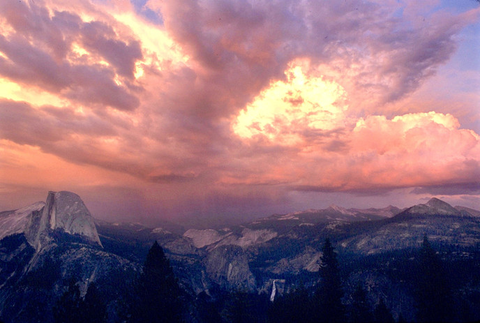 Half Dome sunset with clouds