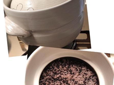 土鍋で黒米ご飯