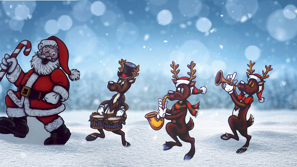 Marching Band Santa and Reindeer